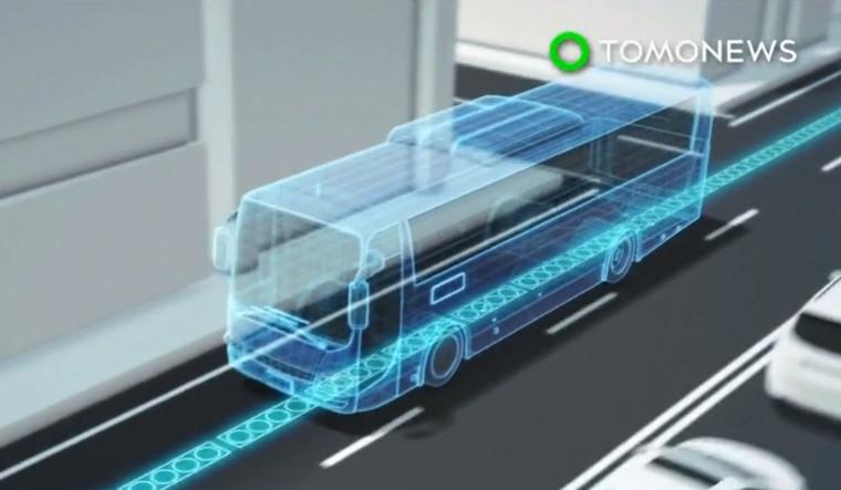 Mô phỏng xe buýt với làn đường có thể cung cấp điện.