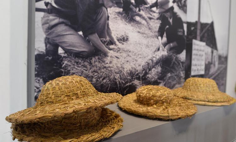 Những chiếc mũ rơm của quân dân Hà Nội trong triển lãm kỷ niệm 45 năm chiến thắng Hà Nội - Điện Biên Phủ trên không.
