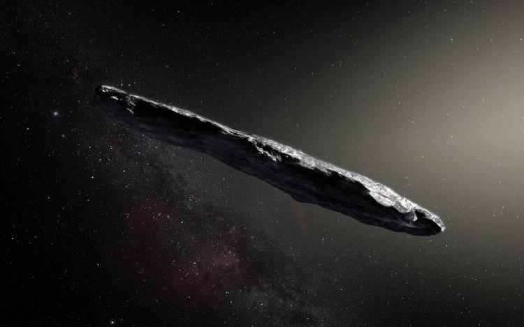 Minh họa nghệ thuật vật thể xuyên sao 'Oumuamua.