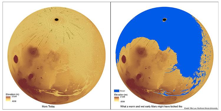 Sao Hỏa khô cằn hiện tại và được bao phủ phần lớn bởi đại dương ngày xưa