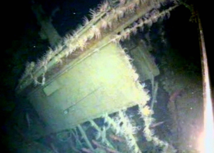 Phía ngoài tàu ngầm AE1 vừa được tìm thấy.