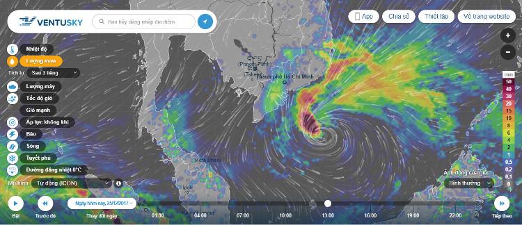 Thông qua các menu lựa chọn, người dùng có thể yêu cầu Ventusky cung cấp chi tiết các thông tin về lượng mưa, tốc độ gió, dự báo