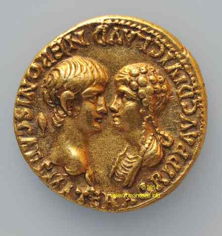 Đồng tiền La Mã in hình Nero và hoàng hậu Julia Agrippina.