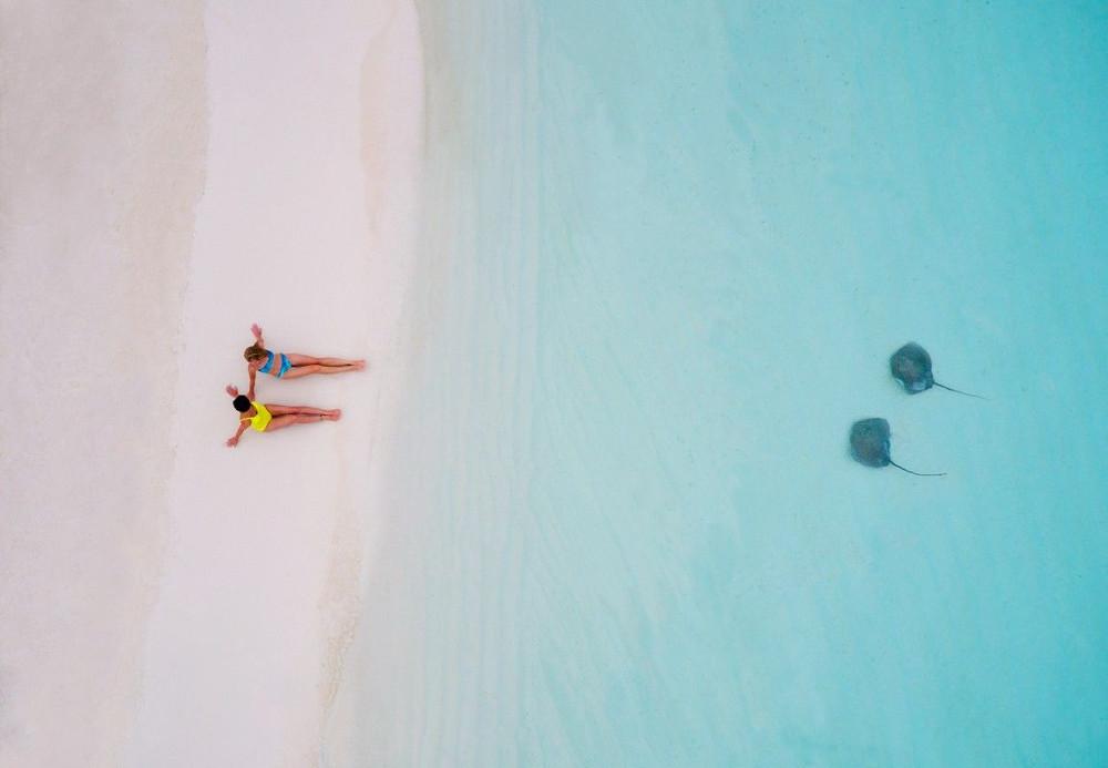 Hai nữ du khách ngồi trên bãi biển khi cá đuối bơi gần bờ tại đảo Polynesia thuộc Pháp.
