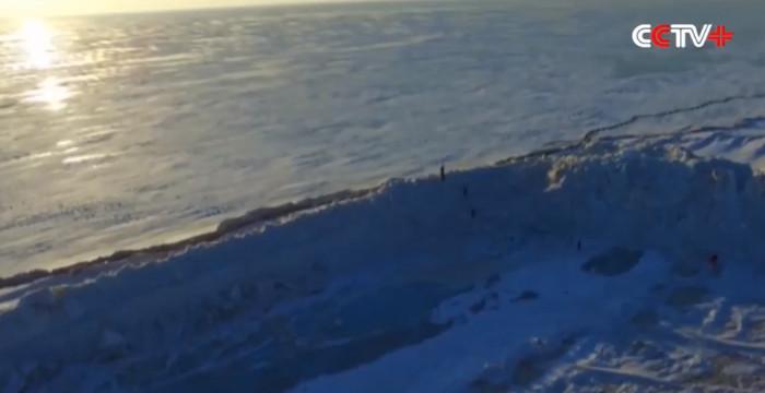 Bức tường băng xuất hiện gần bờ hồ Khanka.