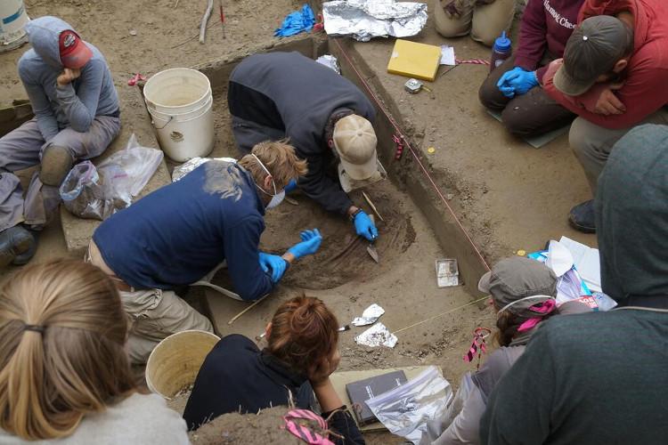 Nhóm các nhà khảo cổ học tham gia dự án khai quật hài cốt bé gái sơ sinh tại Alaska.