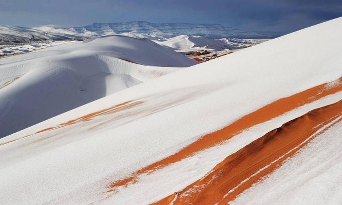 Tuyết trắng đan xen với cát tạo nên một cảnh tượng vô cùng hiếm gặp