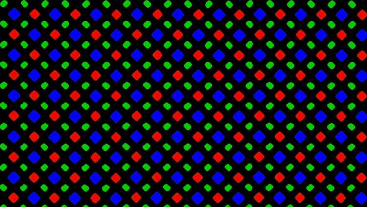 Cận cảnh sự sắp xếp subpixel kim cương trên màn hình OLED do Samsung gia công cho iPhone X