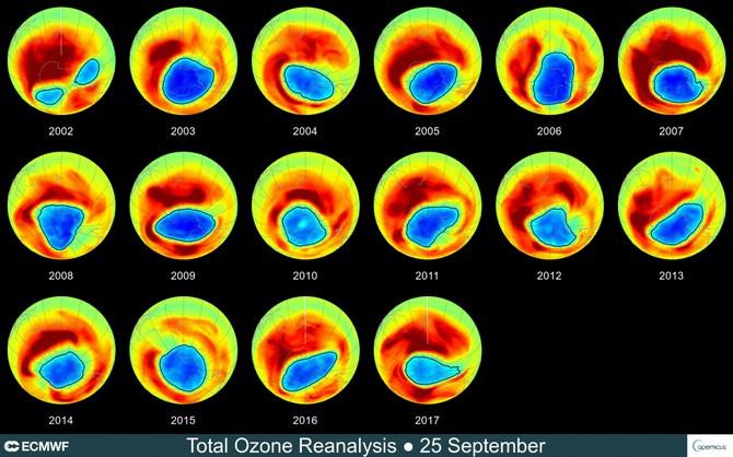 Dữ liệu vệ tinh tính tới tháng 9/2017 cho thấy lỗ hổng đang dần thu hẹp theo thời gian.