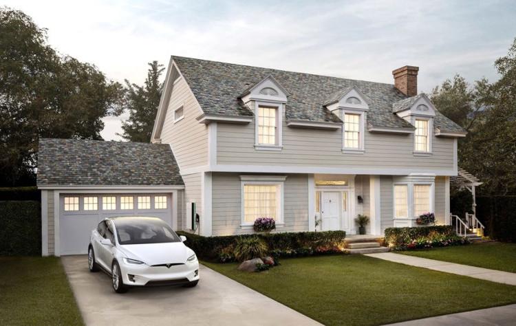 Nhà có ngói là pin năng lượng mặt trời.