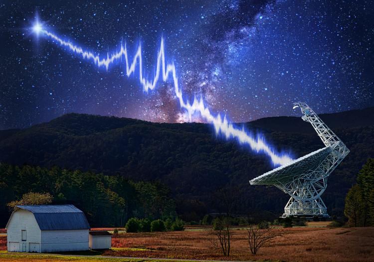 Green Bank là một trong những kính viễn vọng thu được chớp sóng vô tuyến.