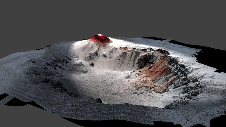 Bản đồ đáy biển xung quanh núi lửa Havre, dung nham từ vụ phun trào năm 2012 được thể hiện bằng màu đỏ.