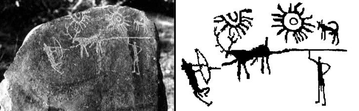 Bức chạm khắc trên đá được khai quật ở Kashmir, Ấn Độ.