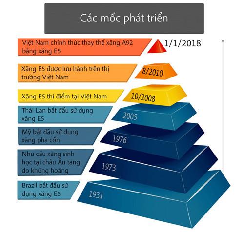 Việt Nam chính thức thay thế xăng A92 bằng xăng E5 kể từ ngày 1/1/2018.