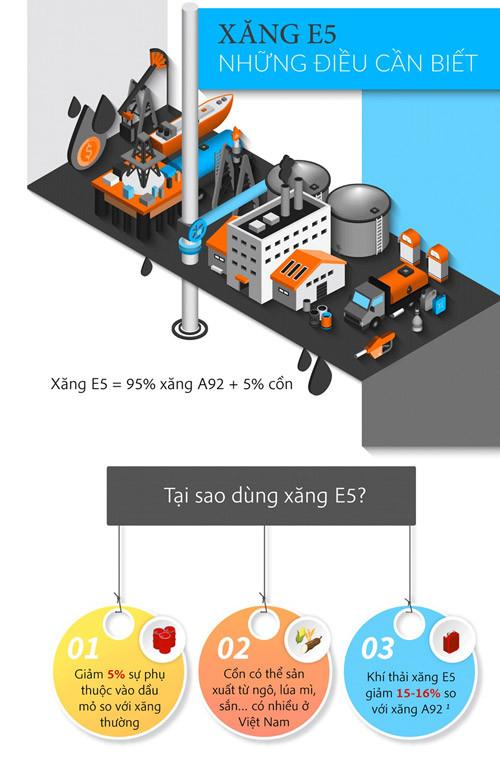 Sử dụng xăng E5 giúp giảm 5% sự phụ thuộc vào dầu mỏ so với các loại xăng thông thường.