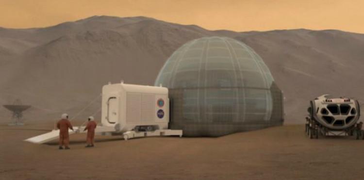 Ngôi nhà băng được bao phủ bởi một mái vòm bằng hơi để những phi hành gia sinh sống và làm việc bên trong đó.