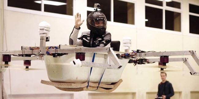 Ứng dụng công nghệ chế tạo drone, anh em Mickenbecker có thể khiến chiếc bồn tắm bay cao tới gần 30m.