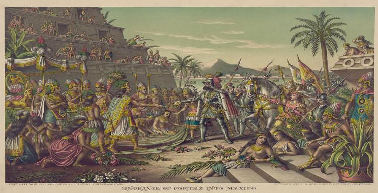 Cảnh tượng người Tây Ban Nha đến Mexico trong tranh minh họa thế kỷ 19.