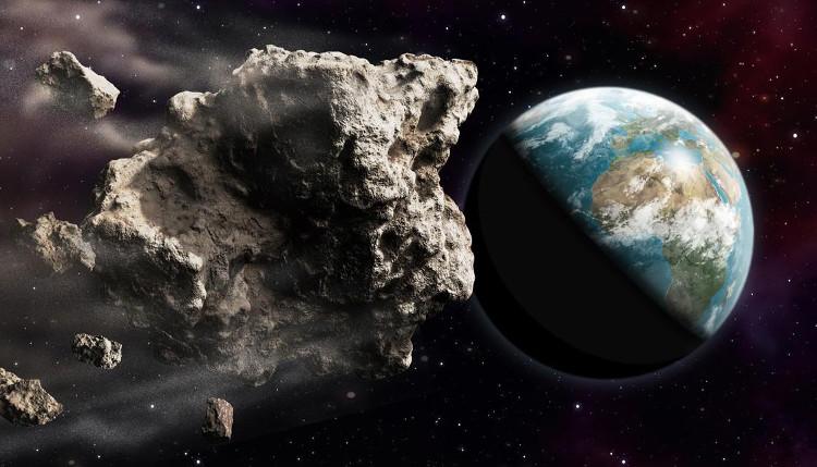 Minh họa tiểu hành tinh 2002 AJ129 sắp bay sượt qua Trái Đất.