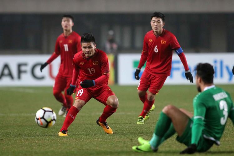 Cầu thủ U23 Việt Nam trong pha bóng ở trận đấu với Iraq hôm 20/1.