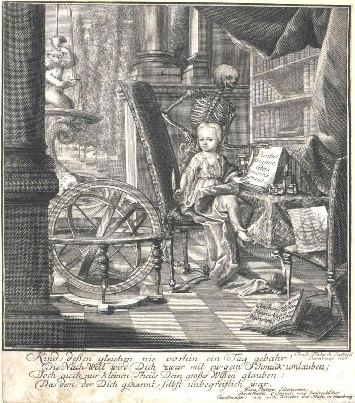 Christian Friedrich Heineken trong bức tranh do mẹ cậu vẽ.