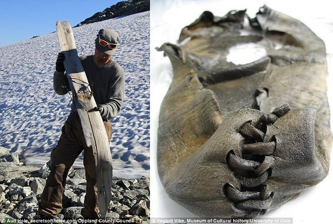 Trong những cổ vật được tìm thấy, có một ván trượt tuyết được bảo quản tốt từ năm 700 SCN (trái)