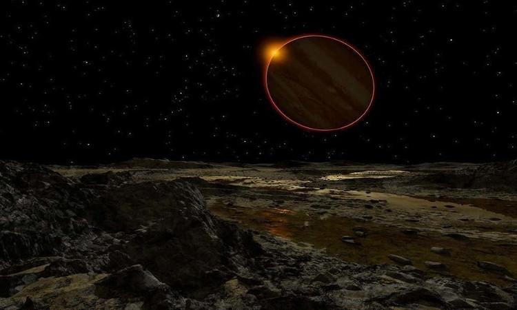 Mặt Trời nhìn từ Europa, một trong những mặt trăng của sao Mộc.
