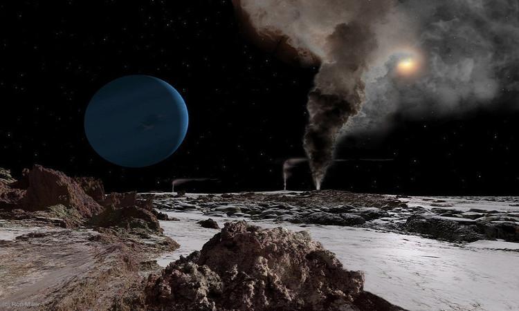 Mặt Trời nhìn từ Triton, một trong những mặt trăng của sao Hải vương.