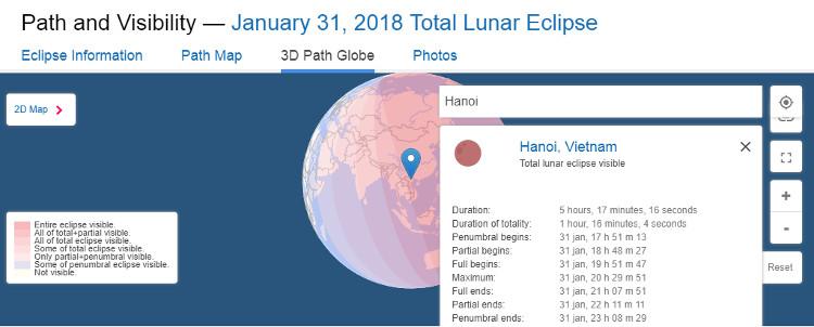 Việt Nam nằm trong khu vực màu hồng đậm nhất - những nơi có thể quan sát nguyệt thực toàn phần, siêu trăng, trăng xanh trọn vẹn nhất