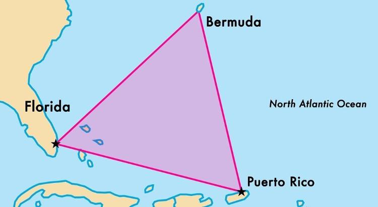 Vị trí tam giác quỷ Bermuda.