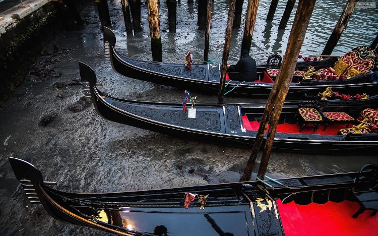 Lưu thông bằng thuyền đáy hoặc các loại taxi nước bị đình trệ cả ngày.