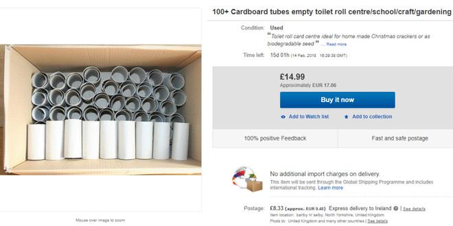 """Lõi giấy vệ sinh đang được bán với giá đắt """"xắt ra miếng"""" trên eBay."""