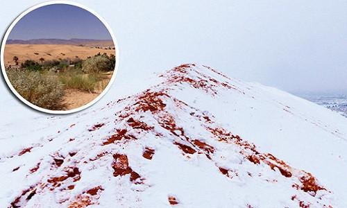 Tuyết nhuốm màu đỏ của cát bao phủ khắp sa mạc Sahara.