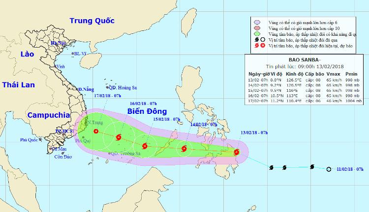 Dự báo đường đi và khu vực ảnh hưởng của bão Sanba