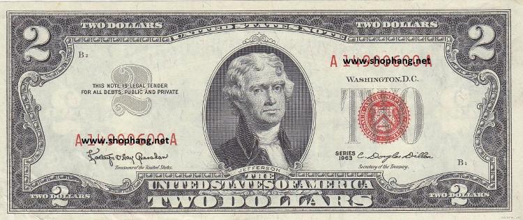 Tờ 2 USD mang biểu tượng may mắn.