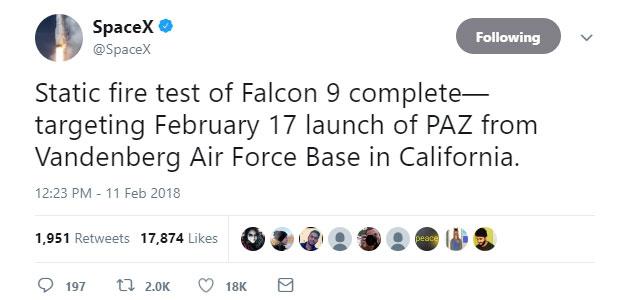 Thông báo phóng tên lửa của SpaceX trên Twitter.
