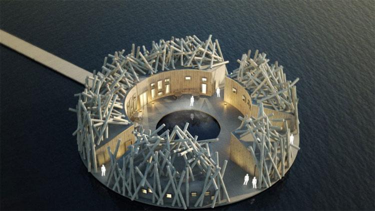 Các vị khách sẽ đi qua một cây cầu gỗ dài nối từ đất liền đến khách sạn.