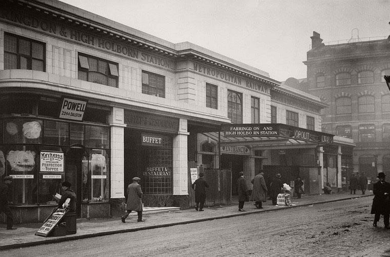 Ga tàu điện ngầm Farringdon hồi tháng 3/1924.