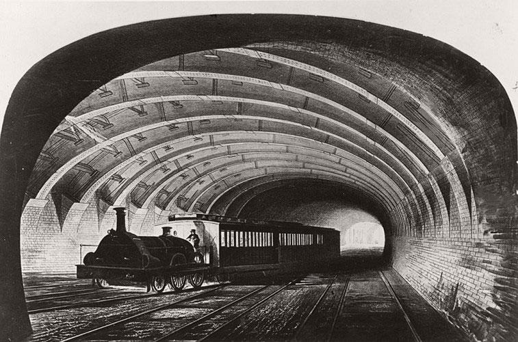 Chuyến tàu điện ngầm London đầu tiên chạy qua phố Praed, thủ đô London, vào khoảng năm 1863.