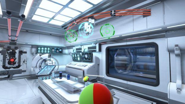 Hình ảnh từ VR game của Neurable, trong đó game thủ di chuyển đồ vật bằng ý nghĩ