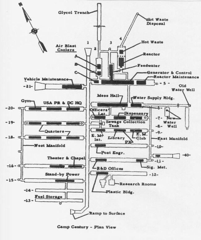 Bản đồ chi tiết căn cứ Camp Century.