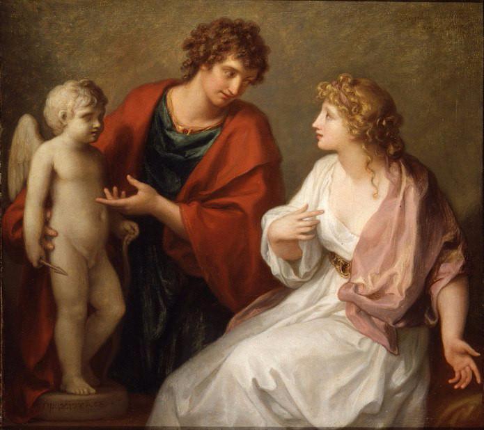 Praxiteles tặng tượng Cupid cho Phryne - tác phẩm của danh họa Angelica Kauffman (1794).