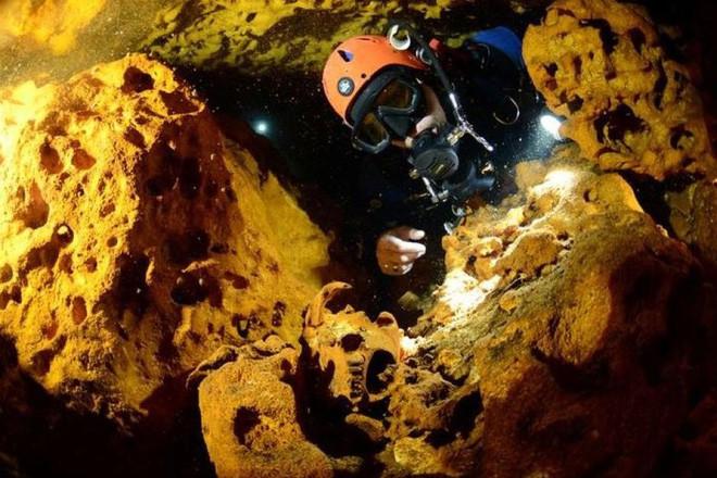 Xương động vật bên trong hang Sac Actun