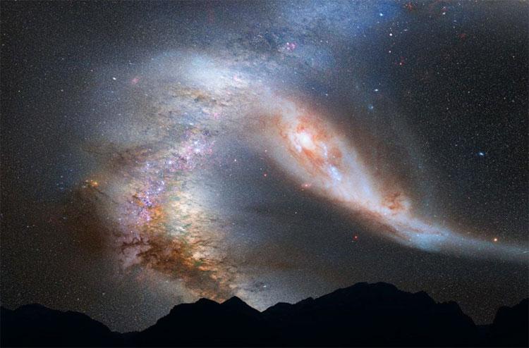 Dải Ngân hà và Tiên nữ được dự đoán sẽ sáp nhập trong 4 tỉ năm nữa.