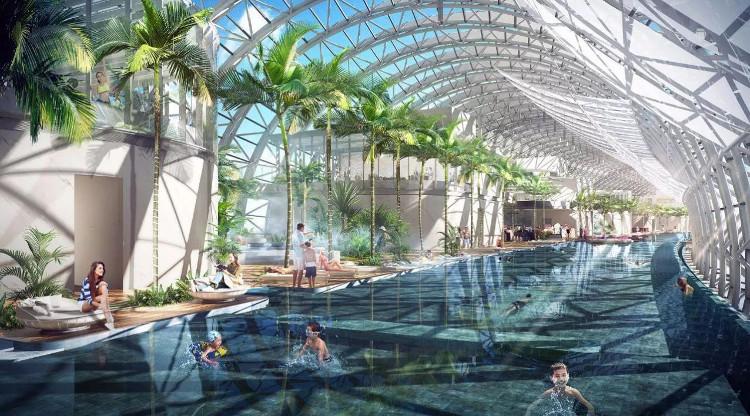 Bên trong thân cầu là bể bơi vô cực và các vườn treo.