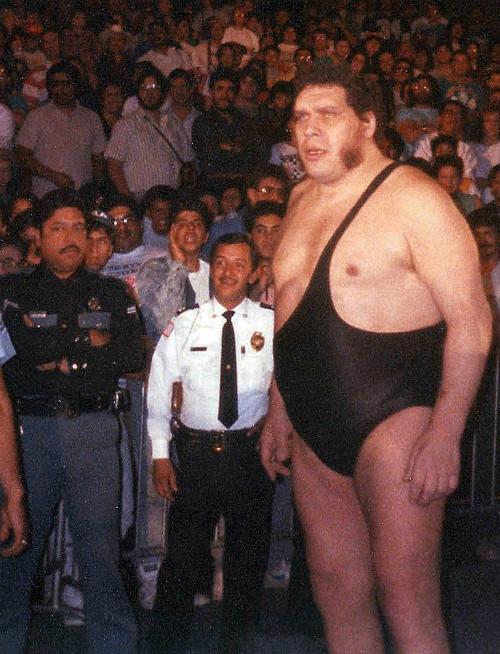 Andre không khác nào người khổng lồ khi đứng cạnh đám đông.