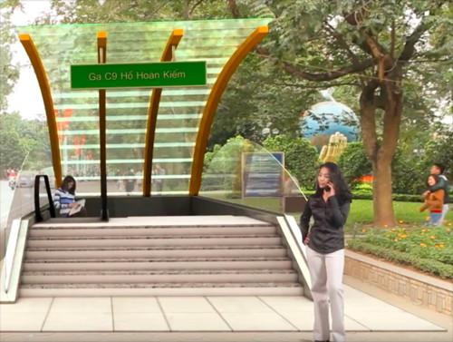 Phối cảnh kiến trúc lối lên xuống số 3 (nằm trong khu vực vườn hoa hồ Gươm).