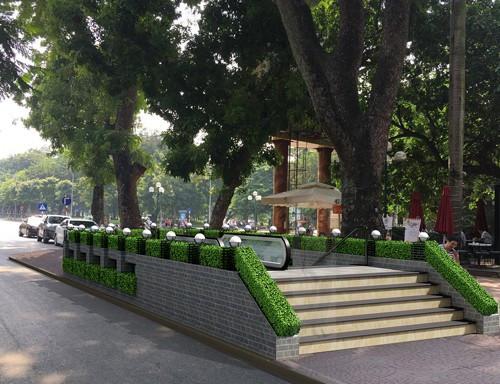 Phối cảnh kiến trúc lối lên xuống số 4, khu vực phía sau tượng đài Cảm tử và đền Bà Kiệu.