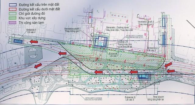 Phân luồng giao thông cho thi công ga C9 giai đoạn một.