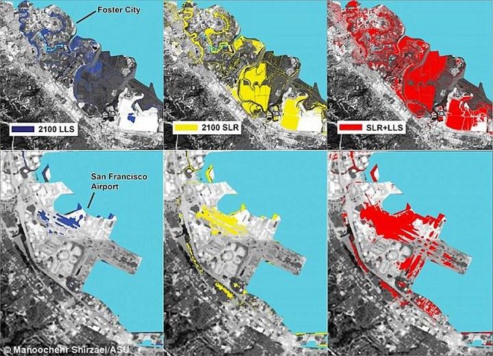 Những nơi thuộc khu vực Vịnh San Francisco có nguy cơ chìm dưới mực nước biển vào năm 2100.